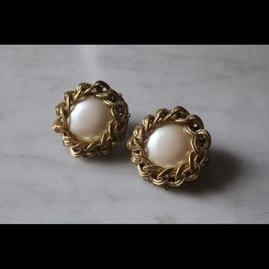Miriam Haskell Gold and Pearl Earrings